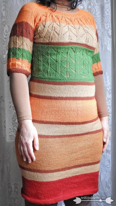 91b0572379 Erdélyivásártér - Egyedi tervezésű bézs-narancs-mustár-bordó kötött ruha