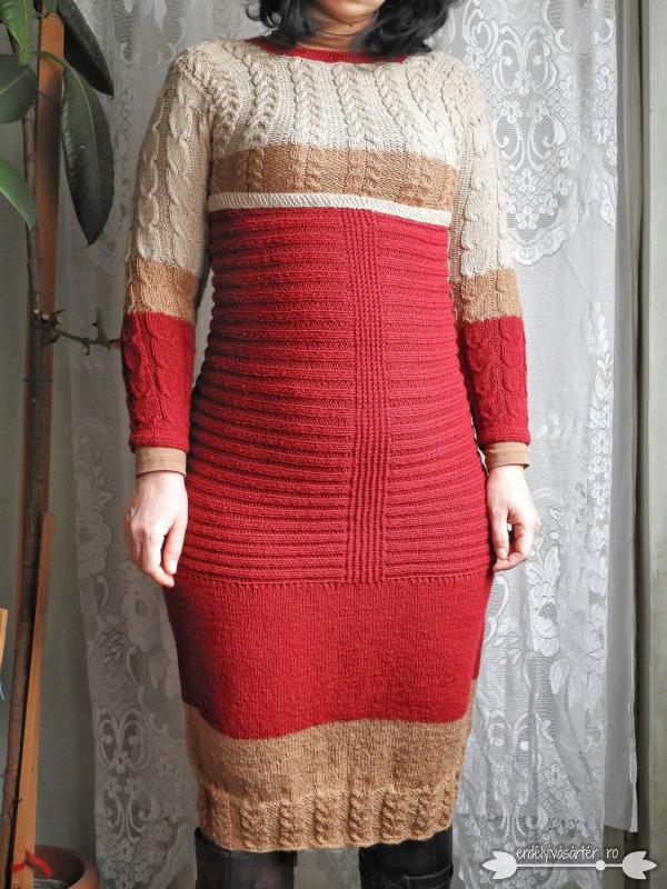 116faac07f Erdélyivásártér - Egyedi tervezésű világos/sötét bézs-bordó kötött ruha